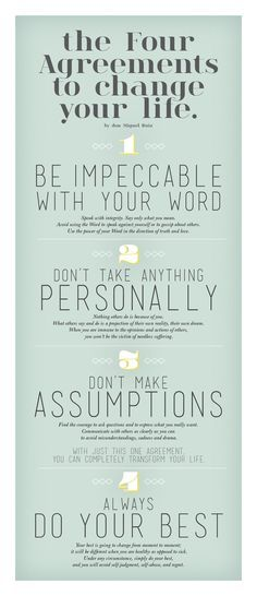 A little inspiration for your aspirations to be a better person >> The Four Agreements To Change Your Life - Rules we live by at Bhakti | drinkbhakti.com