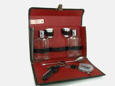 Vintage Portable Bar Black Leather Travel Bar Set by PJsParadise, $34.00