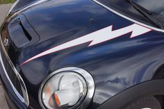 Mini Cooper Hard Top Lightning Bolt Hood Stripe Decals R50 (2002-2006) - Exact Fit - Two Color