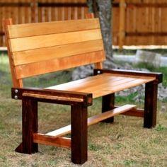 Garden bench built with reclaimed cherry wood & cedar.