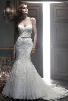 CB Couture - Celine. Beaded embroidered lace with soft, Chantilly Lace peeking through the overlay. Beaded trim follows the sweetheart front and back neckline. A beaded satin band sits at the natural waist. The hemline is finished with non-beaded Chantilly Lace.
