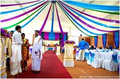 peacock wedding reception decorating ideas   Indian Wedding Lunch Reception With Peacock Theme by Swans Wedding in ...