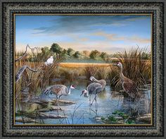 Payne's Prairie State Preserve Park Framed Print featuring the painting Paynes Prairie Preserve State Park- Day Of The Sand-hill by Daniel Butler