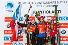15.03.2015, Kontiolahti, Finland (FIN): Ondrej Moravec (CZE) Silver, Jakov Fak (SLO) Gold and Tarjei Boe (NOR) Bronze - IBU world championships biathlon, Men Mass Start, Kontiolahti (FIN),
