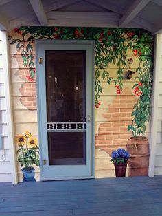 trompe loeil tuscan mural, tuscany mural, eugene m - Murales Pared Exterior Painted Garden Sheds, Painted Shed, Renovation Facade, Outdoor Walls, Outdoor Decor, Porch Wall, Door Murals, Fence Art, Mural Painting