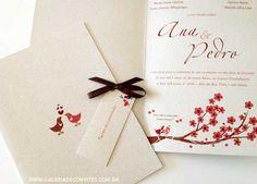 modelo 47: convite de casamento rústico impresso em papel reciclado - Galeria de Convites