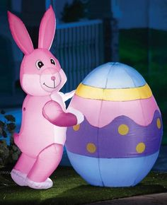 New Lighted Inflatable Easter Bunny Egg Yard Outdoor Decor  | eBay