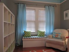 Bright and Modern Orange, Turquoise, Gray Nursery Drapes