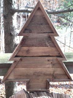 """Pallet Wood Christmas Tree 20"""" tall. Cute with christmas word stencil"""