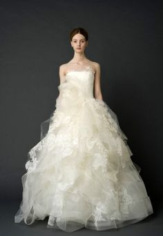 Vera Wang Strapless tumbled tulle floating lace