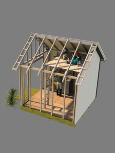 Backyard Storage Shed, Gable Shed Plans - Playhouse for the kids in the loft, and garden shed on the main floor. 10x10 Shed Plans, Free Shed Plans, Backyard Storage Sheds, Storage Shed Plans, Shed With Loft, Shed Loft, Yard Sheds, Build Your Own Shed, Build A Playhouse