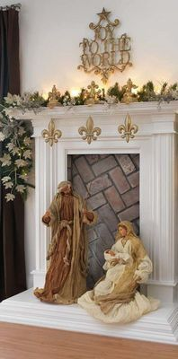 going to make my OWN nativity for next years creche fest. Christmas Fireplace, Christmas Mantels, Christmas Nativity, Noel Christmas, All Things Christmas, White Christmas, Christmas Decorations, Fake Fireplace, Christmas Ideas