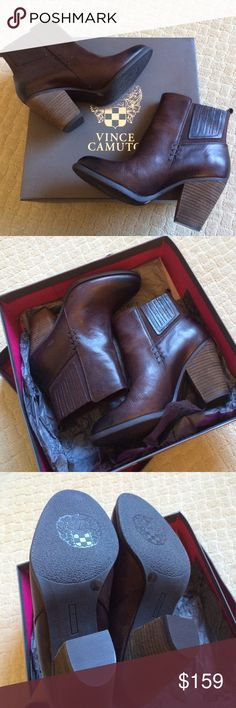 """❗️FINAL❗️Vince Camuto Boots FINAL PRICE!! Gorgeous chestnut color Vince Camuto burly brown highland boots. Perfect for the Fall. Vince Camuto gives the Chelsea boot trend a western inspired update with the Highland booties! With smooth leather and a chunky block heel, these trendy ankle boots will complete your casual attire with ultra chic style! Leather upper. Elastic side panels for stretch fit. Pull on construction. Heel loop tab. Round toe 3¼"""" stacked block heel Rubber sole. FINAL…"""