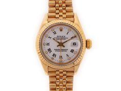 Rolex Lady Datejust White Roman Diamond Dial Fluted Bezel Jubilee bracelet. Pre-Owned Rolex Watches