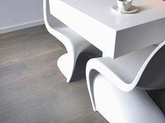 Panton Grey Wood Floors, Wood Flooring, White Armchair, Panton Chair, Floor Design, Hanging Chair, Pantone, Room Inspiration, Home Kitchens