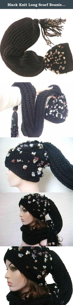 Black Knit Long Scarf Beanie, Hand Knitted, Brown, White Flowers. This soft and feminen set will keep you warm and toasty! Hat and scarf are FIXED, it is NOT possible to remove and NOT POSSIBLE to use them separately......................... Scarf: Length: ~47.2 inches (120 cm) Width: ~9.8 inches (25 cm) Wool, acrylic Hat: stretchy Fits all size heads. Please note that the colors of the products may differ slightly due to the different color resolutions of individual computers, tablets…
