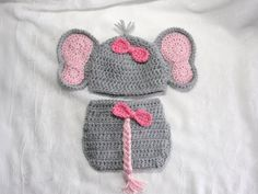 Newborn Baby Girl Elephant Hat with Matching Diaper by Susietoos