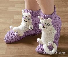 Similar image - Stricken Knitted Slippers, Slipper Socks, Crochet Slippers, Crochet For Kids, Crochet Baby, Knit Crochet, Knitting Socks, Baby Knitting, Knitting Patterns
