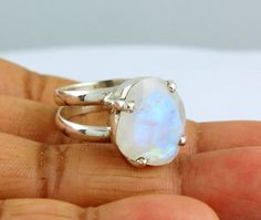 NATURAL RAINBOW MOONSTONE RINGS SOLID SILVER 925 STERLING JEWELRY 6.7 GM US 7.5 #Unbranded
