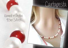 *Perlenkette* mit KARNEOL und 925er SILBER von Cartapesta auf DaWanda.com