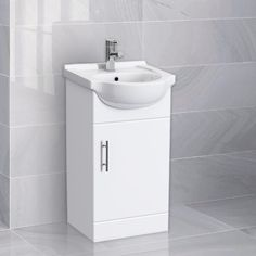 ALABAMA Freestanding White Basin Vanity Unit - 450mm White Vanity Unit, Freestanding Vanity Unit, Basin Vanity Unit, Vanity Units, Bathroom Basin, White Bathroom, Small Bathroom, Big Bathrooms, Single Doors