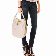 Marc Jacobs Hillar Hobo Q Bag. With care instruction and dust bag. Used a couple of times. A few minor stains like in the photo but barely noticeable. Color is off white. Marc by Marc Jacobs Bags Hobos