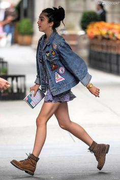 Lourdes Leon. Denim jacket and a simple dress http://believeinmystyle.weebly.com/fashion.html