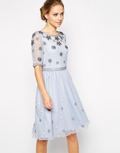 Enlarge Frock and Frill Embellished Top Skater Dress With Sleeve