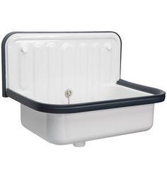 Glazed Steel Utility Sink with Navy Blue Trim - 20 in.