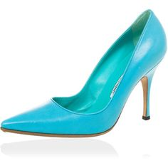 Manolo Blahnik Blue 'BB' Pointy Toe Pumps Size 37.5 ❤ liked on Polyvore featuring shoes, pumps, high heeled footwear, pointy-toe pumps, blue pumps, pointed toe shoes and leather pumps