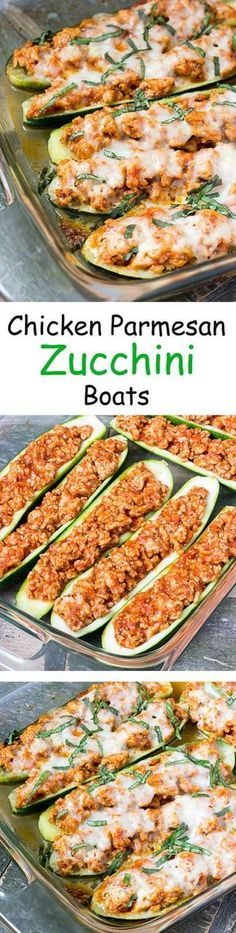 Chicken Parmesan Zucchini Boats - An easy healthy low carb dinner recipe. Use Pomi sauce in this recipe to make a great dish for the family.