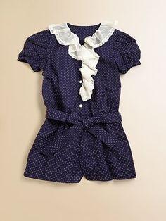 Ralph Lauren Toddler's & Little Girl's Swiss Dot Romper $60