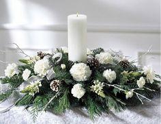 Image detail for -Christmas flower arrangements Christmas Flowers, Christmas Candles, Christmas Wreaths, Christmas Crafts, Silver Christmas, Elegant Christmas, Xmas Table Decorations, Christmas Table Centerpieces, Candle Arrangements