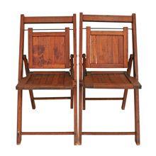 Pair of Vintage Oak Children's Folding Chairs C1930s