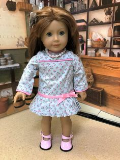 """18"""" doll clothes, American Girl doll clothes, dress, 5 piece cotton drop waist dress, dressy occasion, pink floral on light blue background by MorgansCloset16 on Etsy"""