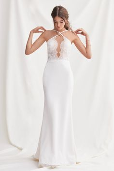 Willowby Espinosa by watters spring 2019 bridal sleeveless halter neck keyhole neckline elegant sheath wedding dress backless short train Willowby by Watters Spring 2019 Wedding Dresses Wedding Dress Trumpet, Plain Wedding Dress, Dream Wedding Dresses, Bridal Dresses, Wedding Gowns, Bhldn Wedding, Modest Wedding, Dresses Dresses, Trendy Wedding