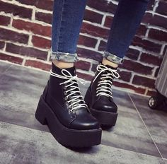 """769bd444ff5 HUGE MASSIVE PLATFORM CYBERPUNK AUTUMN BLACK BOOTS LACE UP Use coupon  """"ITPIN"""" to get"""