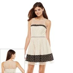 LC Lauren Conrad Lace Mixed-Media Fit and Flare Dress - Women's