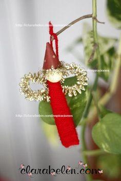 Manualidad de Navidad sencilla: Angelito con palillos y lana - Inspiraciones: manualidades y reciclaje
