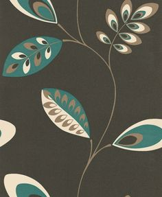 Vito Albany Wallpapers A Richly Coloured Leaf Trail With Individually Patterned Leaves Shown Here Teal Green And Cream Against