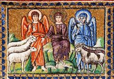 The earliest depiction of Last Judgment as described in Matthew 25:31-46 - the Son of man (in royal purple) flanked by angels, separating the sheep on his right hand from the goats of his left - is this mosaic from the middle of the 6th century, at Sant' Apollinare Nuovo in Ravenna, Italy.