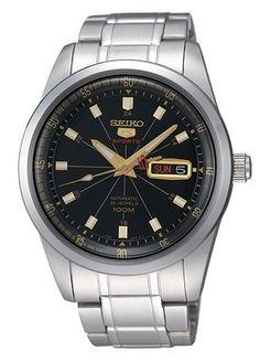 Montre Homme Seiko 5 Sports SRP411J1, modèle anniversaire 50 ans de Seiko 5, bracelet et boîtier acier, cadran noir, mouvement automatique 4R36.
