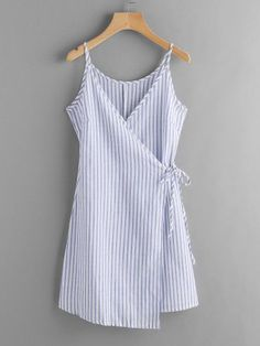 Vertical Striped Wrap Cami Dress 2019 - summer dress v neck summer dress vintage summer dress with sleeves summer dresses plus size blue summer dress linen summer dress blue blue dress blue dre Outfits Casual, Casual Dresses, Summer Outfits, Cute Outfits, Fashion Outfits, Summer Dresses, Womens Fashion, Dress Fashion, Cheap Fashion