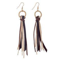 Wholesale worn gold fishhook earrings displaying ring brown beige tassel