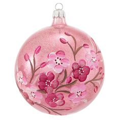 Clear Pink Ball With Cherry Blossoms Ornament | Flower & Insect | Animal, Birds, Flowers, Insects, & Nature | Christmas Ornaments | Bronner's CHRISTmas Wonderland