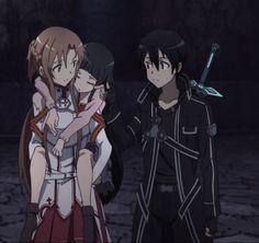 Yui, Kirito, and Asuna