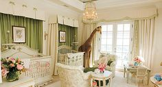 Mariah Carey and Nick Cannon's Traditional Nursery. Forgoing a pink and blue color scheme, Mariah and Nick's classically decorated nursery was primarily outfitted in green, with pink accents (and butterflies, of course) scattered throughout. Nursery Twins, Nursery Room, Cream Nursery, Royal Nursery, Giraffe Nursery, Jungle Nursery, Giraffe Baby, Child's Room, Chic Nursery