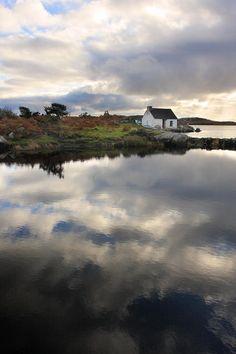 Reflection of a fishing cottage in Connemara Ireland Fine Art Print - Pierre Leclerc