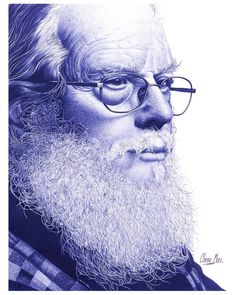 No photo description available. Biro Art, Ballpoint Pen Drawing, Amazing Drawings, Realistic Drawings, Pencil Drawings, Art Drawings, Old Man Portrait, Hyperrealistic Drawing, Pen Illustration