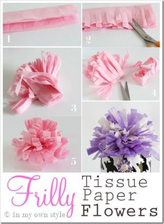 Frilly-Paper-Flowers - Made from tissue paper Fake Flowers, Diy Flowers, Fabric Flowers, Diy Paper, Paper Crafts, Fun Crafts, Crafts For Kids, Fleurs Diy, Tissue Paper Flowers